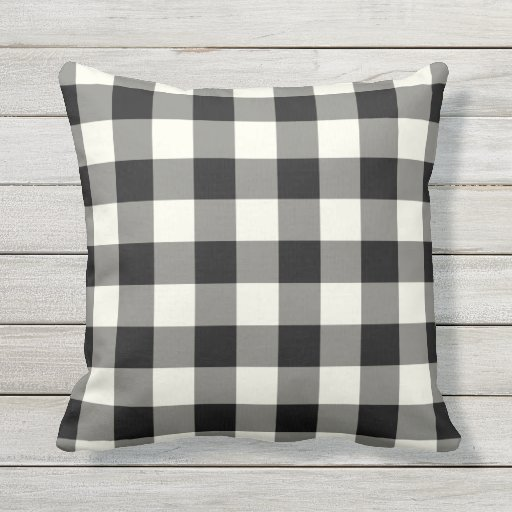 Black and White Outdoor Pillows Gingham Pattern