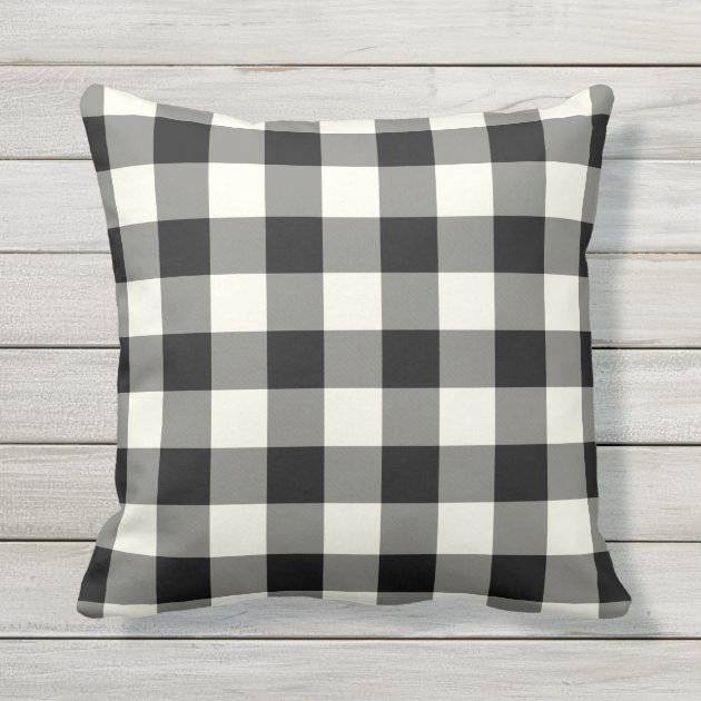 Perfect Black And White Outdoor Pillows   Gingham Pattern | Zazzle.com