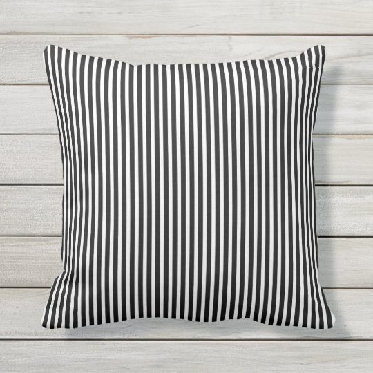 Black And White Outdoor Pillows Oxford Stripe Zazzle Com