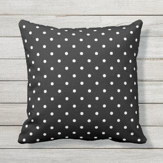 Black and White Outdoor Pillows - Polka Dot