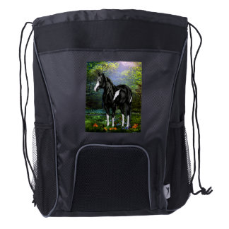 Black and White Overo Paint Horse Drawstring Backpack