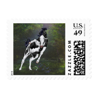 Black and White Overo Paint Horse Postage