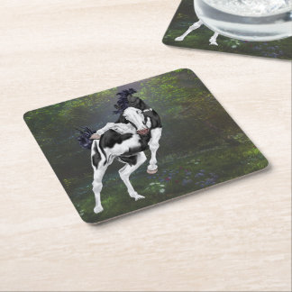 Black and White Overo Paint Horse Square Paper Coaster