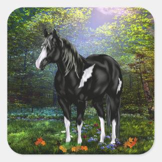 Black and White Overo Paint Horse Square Sticker