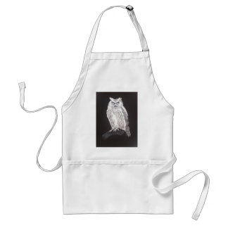 black and white owl adult apron