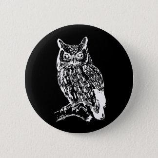 Black and White Owl Design Button