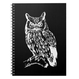 Black and White Owl Design Spiral Notebook