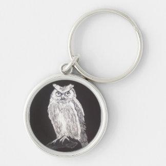 Black and white owl key chain