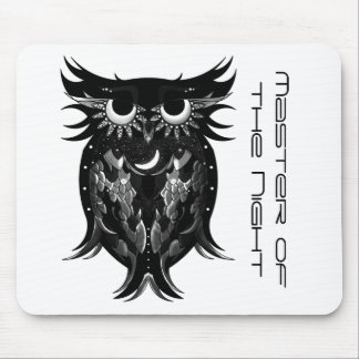 Black and white owl mouse pad
