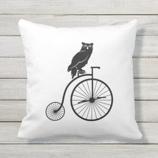 Black and White Owl on a Bike Outdoor Pillow