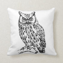 Black and White Owl Pillow