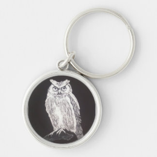 Black and white owl Silver-Colored round keychain