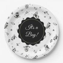 Black and White Owl Themed Baby Shower Paper Plate