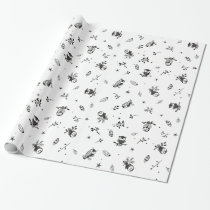 Black and White Owl Themed Gift Wrap
