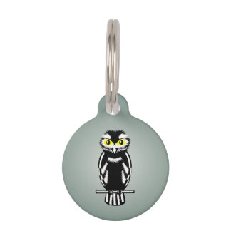 Black and White Owl with Bright Eyes Pet Nametags