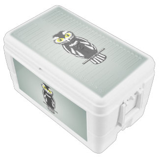 Black and White Owl with Bright Eyes Ice Chest