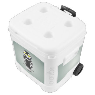 Black and White Owl with Bright Eyes Igloo Roller Cooler