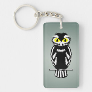 Black and White Owl with Bright Eyes Keychain