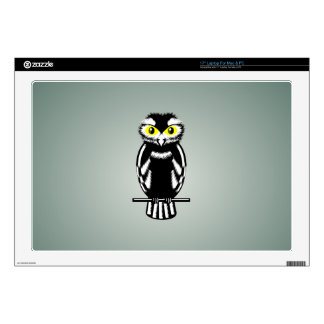 Black and White Owl with Bright Eyes Laptop Decals