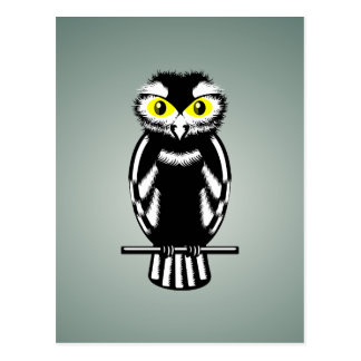 Black and White Owl with Bright Eyes Postcard