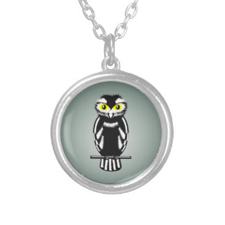 Black and White Owl with Bright Eyes Silver Plated Necklace