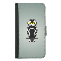 Black and White Owl with Bright Eyes Wallet Phone Case For Samsung Galaxy S5