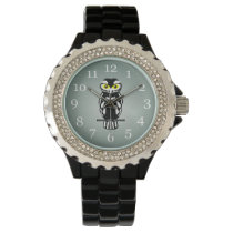 Black and White Owl with Bright Eyes Wristwatch