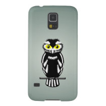 Black and White Owl with Yellow Eyes Galaxy S5 Case