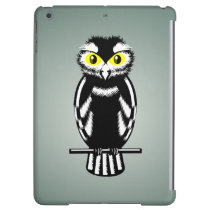 Black and White Owl with Yellow Eyes iPad Air Covers