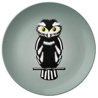 Black and White Owl with Yellow Eyes Porcelain Plate