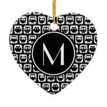 Black and White Owls Personalized Monogram Ceramic Ornament
