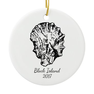 Beach Themed Black and White Oyster Ornament