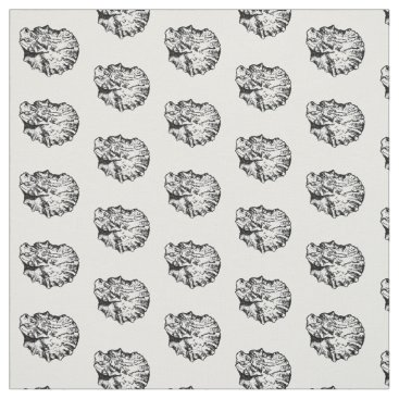 Beach Themed Black and White Oyster Shell Pattern Fabric