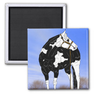Black and White Paint Horse 2 Inch Square Magnet