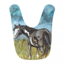Black and White Paint Horse Watercolor Art Bib