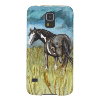 Black and White Paint Horse Watercolor Art Case For Galaxy S5