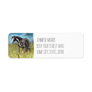 Black and White Paint Horse Watercolor Art Label
