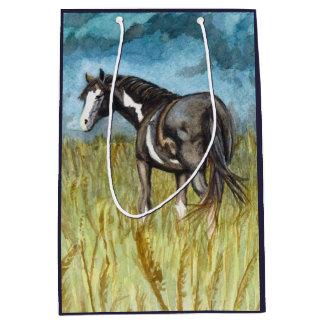 Black and White Paint Horse Watercolor Art Medium Gift Bag