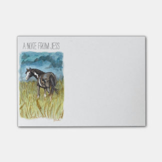 Black and White Paint Horse Watercolor Art Post-it® Notes