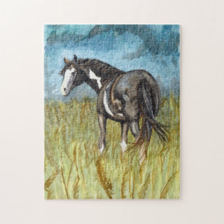 Black and White Paint Horse Watercolor Art Puzzles