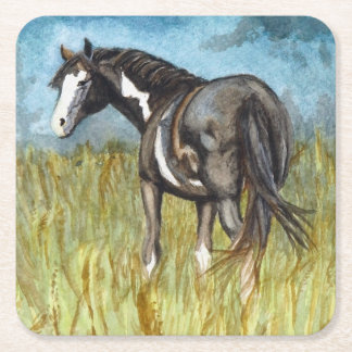 Black and White Paint Horse Watercolor Art Square Paper Coaster
