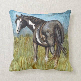 Black and White Paint Horse Watercolor Art Throw Pillow