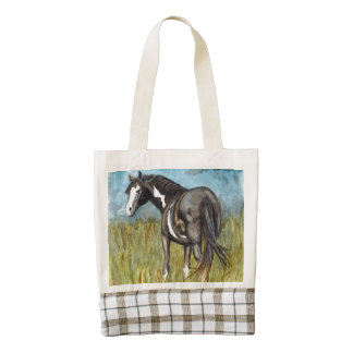 Black and White Paint Horse Watercolor Art Zazzle HEART Tote Bag