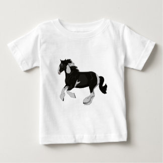 Black and White Paint Pinto Gypsy Vanner Horse Baby T-Shirt