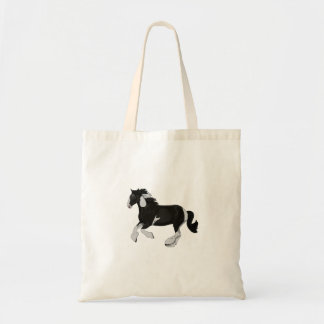 Black and White Paint Pinto Gypsy Vanner Horse Tote Bags
