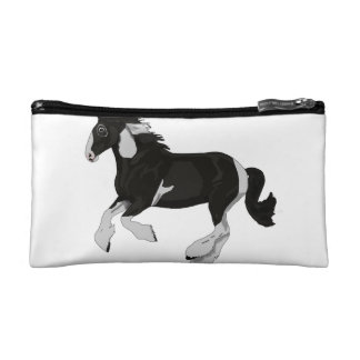 Black and White Paint Pinto Gypsy Vanner Horse Cosmetic Bag
