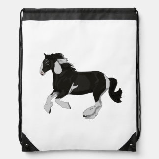 Black and White Paint Pinto Gypsy Vanner Horse Drawstring Bag