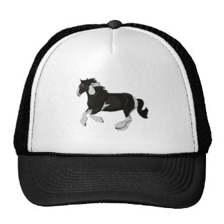 Black and White Paint Pinto Gypsy Vanner Horse Trucker Hat