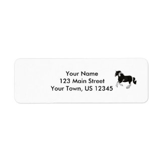 Black and White Paint Pinto Gypsy Vanner Horse Return Address Label