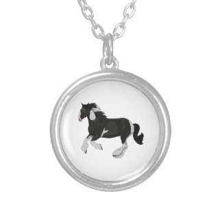 Black and White Paint Pinto Gypsy Vanner Horse Round Pendant Necklace